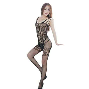 d9abbb0bda4 DIKEWANG Sexy Womens Floral Open Crotch Mesh Bodystockings Bodysuits Couple  Temptation Hot Attractive Lingerie (Black