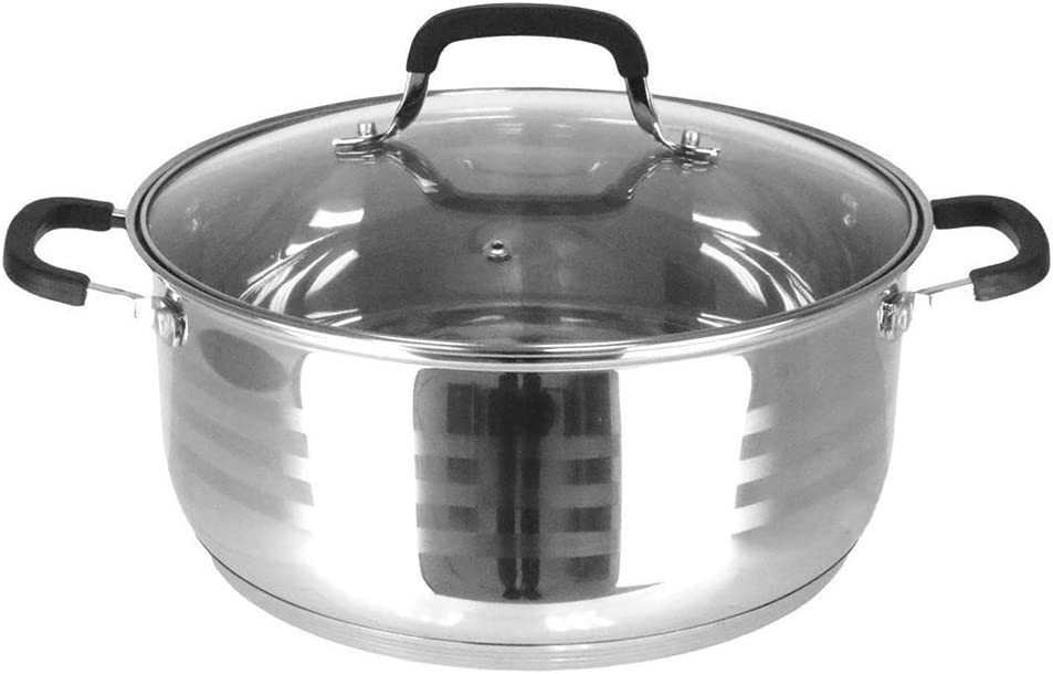 """Thaweesuk Shop 7QT Dutch Oven Pot Stainless Steel 5 Layer Extra Impact Bottom w/Lid 4""""H x 10""""D of Set"""