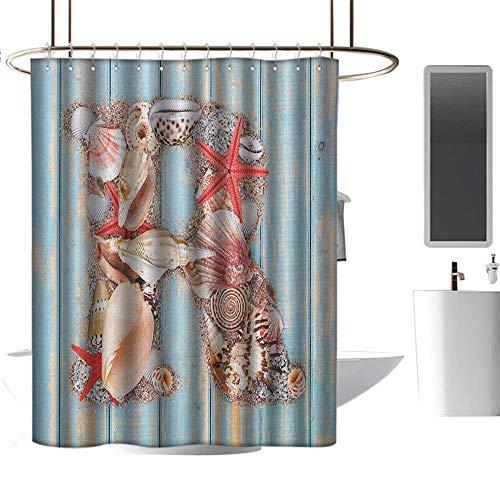 "Qenuan Vintage Shower Curtain Letter R,Tropical Animals in Alphabet Art Ocean Letter R Seashells Starfish, Pale Blue Ivory Dark Coral,European Style Decoration Bathroom Curtains 70""x70"""