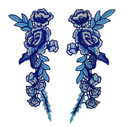 2 Pieces Embroidery Lace Flower Applique Sew On Patch Blue Roses on a Branch For Craft, Sewing, Clothing, Scrapbooking Decoration (A pair) (Flower Patch Blue)