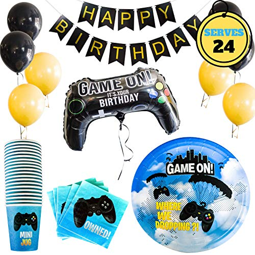 Video Game Party Supplies -Serves 24   Birthday Decoration For Gamers   Includes Paper Plates, Paper Cups, Napkins, Video Controller Balloon & Latex Balloon]()