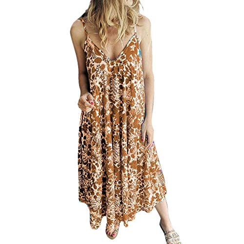 (LIM&Shop  Summer Long Dress Sleeveless Boho Beach Cover Up Maxi Dress Plus Size Cami Spaghetti Strap Top Print Shirt)