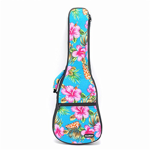 CLOUDMUSIC Hawaiian Hibiscus and Palm Ukulele Case Ukulele Backpack (Concert, Hawaii Hibiscus and Palm In Light Blue)