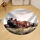 Gzhihine Custom round floor mat Steam Train In A Open Countryside Transportation Concept