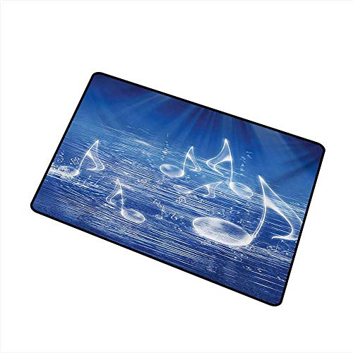 Welcome Door mat Music Magical Water with Musical Notes Bubbles Dancing Waves Fantasy Music More Than Real Theme W35 xL59 Easy to Clean ()