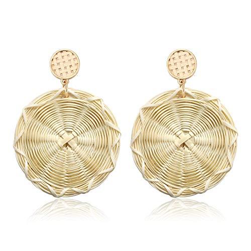 JYM JEWELRY Rattan Straw Dangle Earrings for Women Summer Lightweight Rattan Earrings Handmade Wicker Woven Drop Earrings with Disc (Round 2) - Disc Round Drop