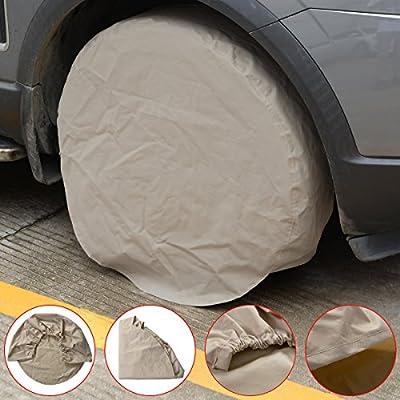 "4PCs Waterproof 28"" Wheel Tire Cover For RV Auto Car Truck Trailer Beige"