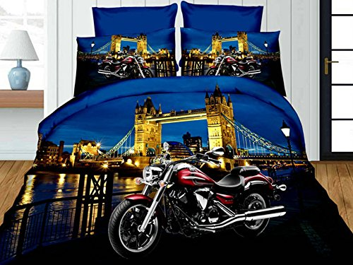 rotes Motorrad mit 50 x 75 cm gro/ßen Kopfkissenbez/ügen und Bettlaken Motiv World of Cotton 4-teiliges 3D-Premium-Bettw/äscheset f/ür Einzelbett
