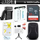 32GB Accessory Kit For Nikon Coolpix S3700 S33 S7000 S6500, S6800, S6900, S3600, A300, W100 Digital Camera Includes 32GB High Speed SD Memory Card + Replacement EN-EL19 Battery + Charger + Case + More