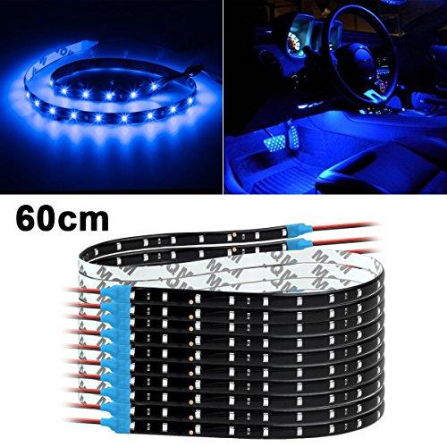 Partsam 10x Blue Car 30-LED 60cm Strip Flexible Self-Adhesive 12V SMD5050 Universal Motorcycle DIY