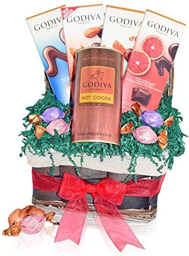 Godiva Christmas Chocolate & Hot Cocoa Variety Gift Basket - Godiva Assorted Truffles - Milk, Dark Almond, Salt Caramel, Blood Orange Chocolate Bars - Christmas Gift for Family, Friends, Him, Her