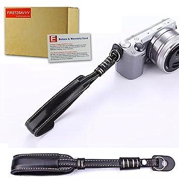 First2savvv XJPT-EOSM10-01G10 Custodia Fondina in pelle sintetica per macchine fotografiche reflex compatibile con Canon EOS-M10 con obiettivo 15-45mm nero lettore di schede SD