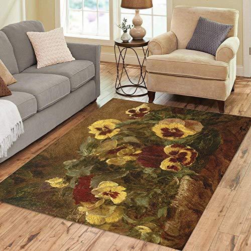 Pinbeam Area Rug Pansies by Henri Fantin Latour 1903 French Impressionist Home Decor Floor Rug 5' x 7' Carpet