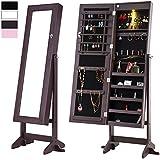 Cloud Mountain Espresso Jewelry Armoire Mirrored Jewelry Cabinet Lockable Storage Organizer