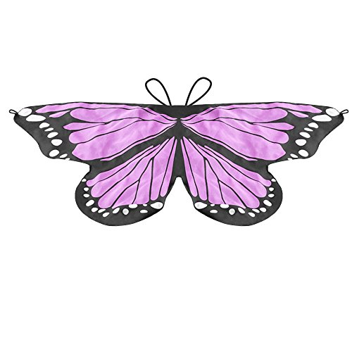 (LIVEBOX Monarch Butterfly Wings Shawl Cape Scarf Fanciful Fabric Dance Wing Dress Up Kids Costume Accessary (Purple Pink))