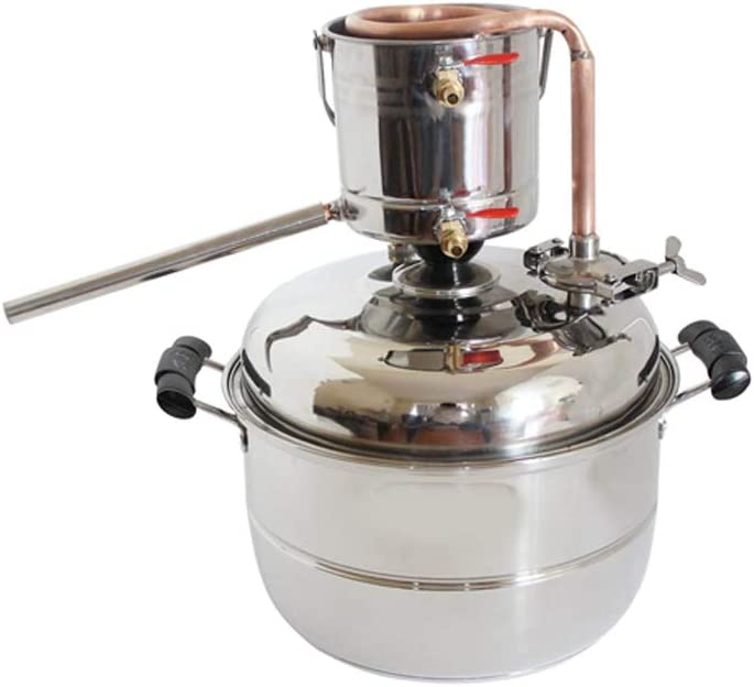 New DIY 10L Alcohol Distiller Home Brewing Kit Stainless&Copper Cooling Home Wine Making Moonshine Still Water Distillation Brew Fermenter Tank For Making White&Fruit Spirit With Pump(Copper)