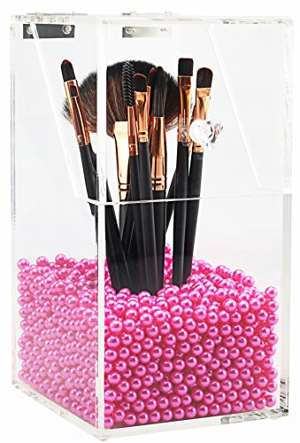 PuTwo Acrylic Makeup Organizer with Rosy Pearls 5MM Case, La