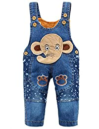 Kidscool Baby Cotton Denim Cute 3D Elephant Star Soft Overalls Blue