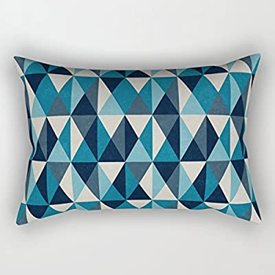 SPXUBZ White, Indigo and Black Rhombus Pattern Decorative Home Decor Square Indoor/Outdoor Pillowcase Size: 16X24 Inch(Two Sides): Home & Kitchen