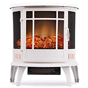 Regal Electric Fireplace - e-Flame USA 25 Inch White Portable Electric Fireplace Stove with 1500W Space Heater. Realistic Flame and Log. Vintage Design for Corners