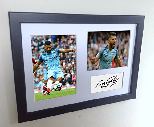 Signed Black Soccer Sergio Aguero Manchester City Autographed Photo Photographed Picture Frame A4 12x8 Football Gift by kicks