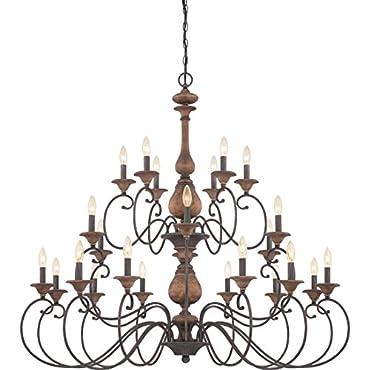 Quoizel ABN5024RK  Auburn 24-Light Foyer Piece, Rustic Black