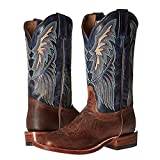 Tony Lama Womans Dava 12'' height (K4579L)   Foot Tan Saigets Worn Goat  Pullon Western Boots   Blue Cowboy Leather Boot   Made In USA (B 7)