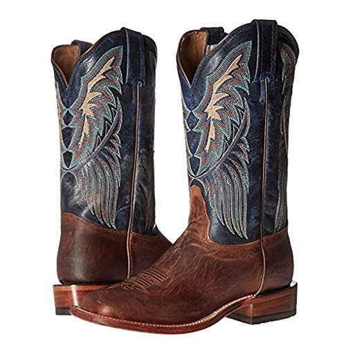 Tony Lama Womans Dava 12'' height (K4579L) | Foot Tan Saigets Worn Goat| Pullon Western Boots | Blue Cowboy Leather Boot | Made In USA (B 7)