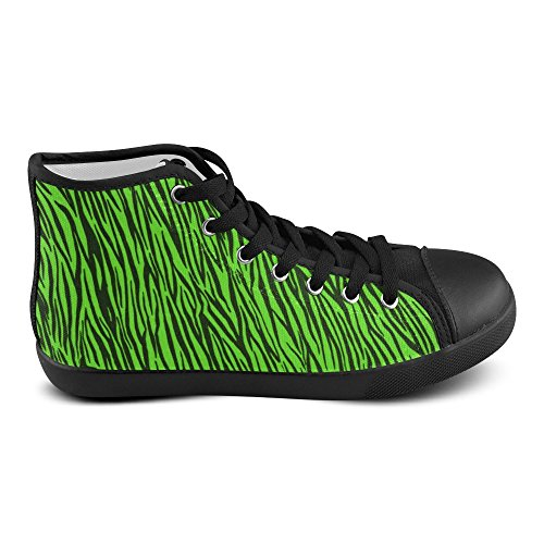 D-story Custom Green Zebra Stripes Dames Hoge Top Canvas Schoenen (model 002)