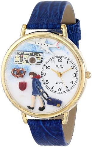 Whimsical Watches Women s G-0610007 Flight Attendant Blue Leather Watch