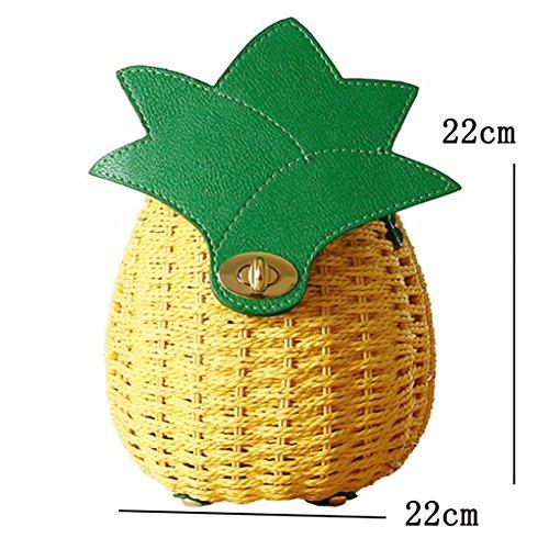 LAAT Frauen Sommer Strand Beutel handgemachte gesponnene Schulter Beutel nette Ananas Stroh Handtaschen beiläufige Frucht kleine Geldbeutel Tote 22 * 22cm 3QLgaDf7Yj