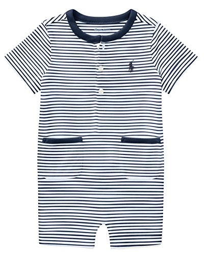 RALPH LAUREN Baby Boy Striped Cotton Jersey Shortall (24 Months, Summer (Ralph Lauren Striped Romper)