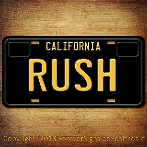 Forever Signs Of Scottsdale Rush Canadian Rock Band California Aluminum Vanity License Plate Black