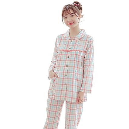 HUIFANG Pijamas De Primavera Y Otoño De Las Mujeres Embarazadas Gasa De Algodón De Doble Capa
