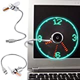 Mini Adjustable USB Fan Clock LED Durable and Flexible Gooseneck for Laptop PC Notebook Time Display (Silver)