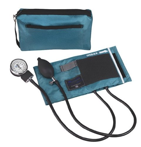 MABIS MatchMates Aneroid Sphygmomanometer Manual Blood Pressure Monitor Kit with Calibrated Nylon Cuff and Carrying Case, Professional Quality, Teal