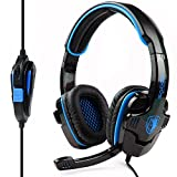 Cheap SADES SA-708 Professional 3.5mm Stereo Headset Headband PC Notebook Pro Gaming Headphone – Black/Blue