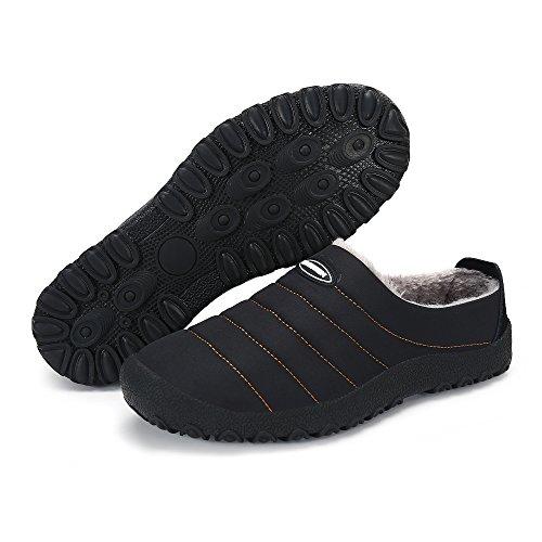 Men Women Water-proof Snow Winter Outdoor Indoor House Slip on Slippers Shoes (11US-women/10-men=EU/FR 43, Black)