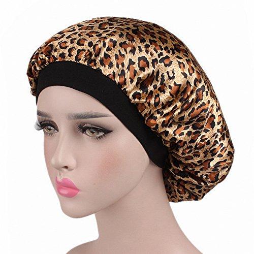 (MuYiTai Satin Sleep Cap Wide Band Night Bonnet Hat Hair Loss Chemo Cap for Women Leopard)