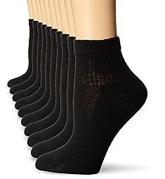 Hanes Women\'s Ankle Sock, Black, Shoe Size 5-9,Socks Size 9-11 (Pack of 10)