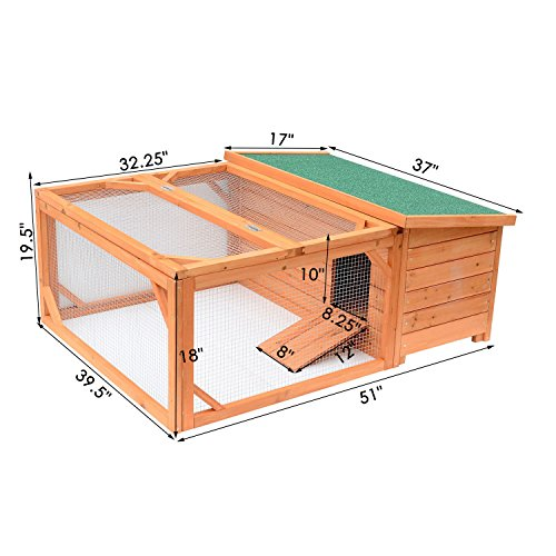 Pawhut Small Wooden Bunny Rabbit & Guinea Pig / Chicken Coop w/ Outdoor Run by PawHut (Image #1)