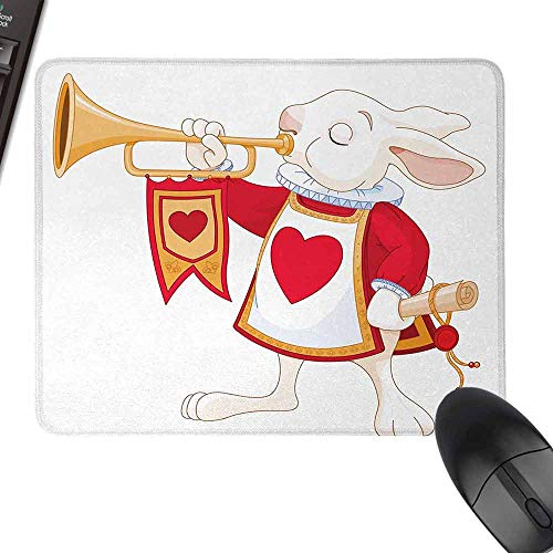 HMdy88PT Alice in Wonderland Rabbit Playing Royal Trumpet with Heart Design Animal Card Kids logitech Gaming Mouse padsize W16 x23.5 White Red Yellow (Mousepad Alice In Wonderland)