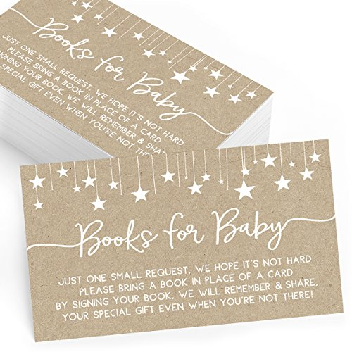(Bring a Book Insert Cards for Baby Shower, Set of 25, Books for Baby Insert Card, Baby Shower Games, Activities, and)