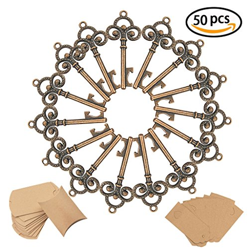 50Pcs Wedding Favors Skeleton Key YuQi Bottle Opener With 50pcs Escort Card Tag and Twine,Wine Bottle Decorative Accessories Sets for Guests Party Rustic, Kid's Birthday,Communion,Baby Showers Home