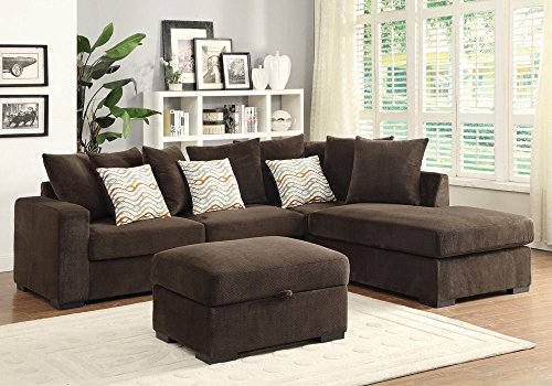 1PerfectChoice Olson Sectional Sofa Reversible Chaise Storage Ottoman Chocolate Upholstered