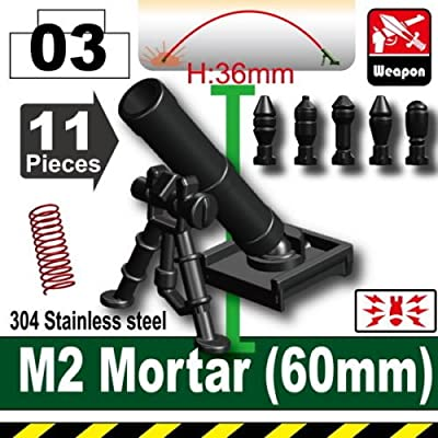 Custom M2 Mortar With Mortar Rounds Designed for Brick Minifigures