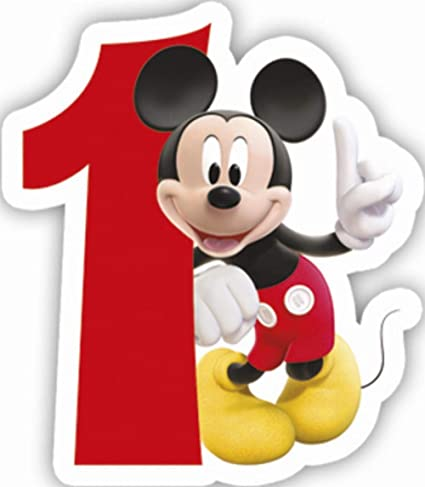 Playful Mickey Birthday Numeral Candle No1 Disney Mouse Clubhouse