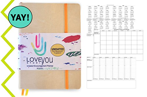 A5 Undated Planner Calendar Agenda | Gratitude Small Encouragement | Increase Productivity, Time Management, Happiness, Passion-Simple, Professional, Non Dated / Undated - 14 months | LoveYouStudio