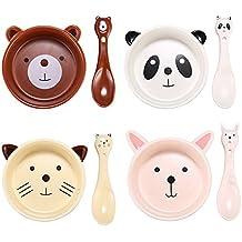 "Colias Wing 5"" Cuddly Cartoon Animal Bear/Panda/Cat/Rabbit Shape Design Ceramic Salad/ Pasta/ Fruit/ Appetizer/ Dessert Bowls, Breakfast Lunch Dinner Bowls with Spoons for Kids(Set of 4)"