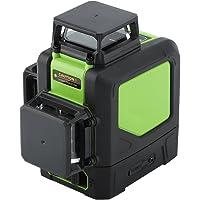 Niveau laser 360 Degrés 12 Lignes, 3D Niveau laser Vert Horizontal et Verticale à 360 degrés Imperméable à l'eau et Anti-poussière avec Prise Européenne 220V (avec Batterie)